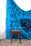 Indian Wall Hanging Om Turquoise Mandala Queen Size Tapestry Bedcover Ethnic Blanket Decor