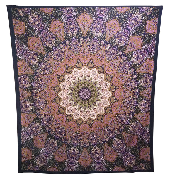 Indian Orange Blue Star Mandala Double Bed sheet Wall Hanging Tapestries Throw Tapestry Queen Size