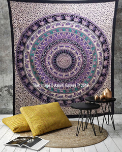 Elephant Round ( 6 Color ) Star Light Cream Double Wall Tapestries Throw Tapestry Queen Size
