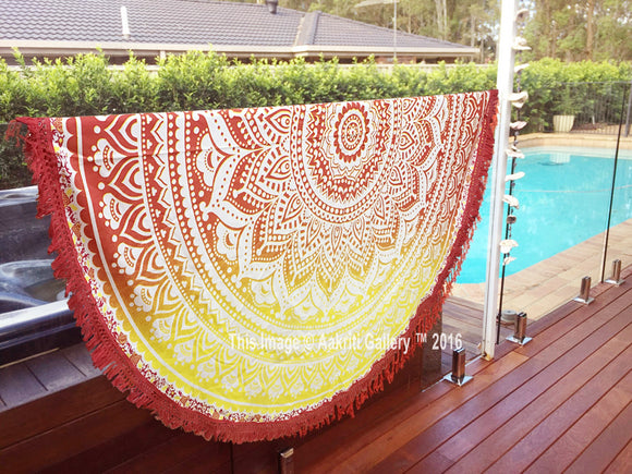 Red Round Mandala Beach Tapestry Yoga Mat Cotton Hippie Boho Indian Bedsheet 72