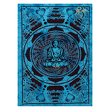 Indian Tapestry Turquoise Lotus Buddha Single Mandala Tapestry Wall Hanging Wall Art Bedspreads Hippie Twin Single Size