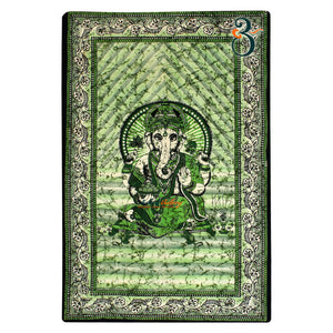 Twin Size Green Ganesha Hippie Tapestry Wall Hanging Decor Indian Mandala Tapestries Bedspread