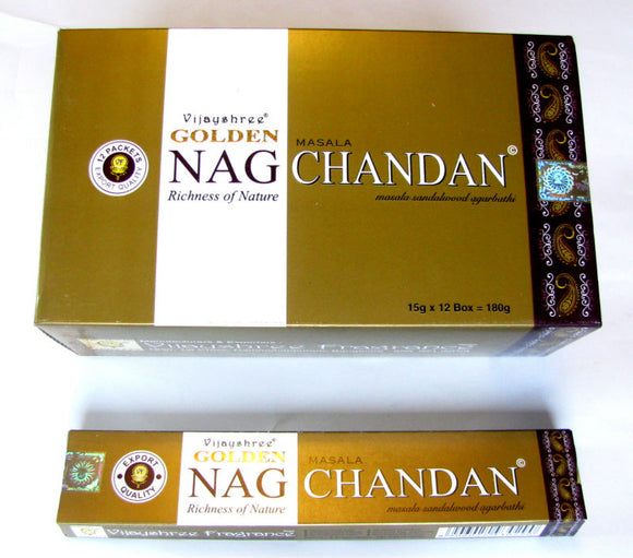 Golden Nag Chandan - Incense Joss Sticks - 15g Sticks Box X 12 Packs Agarbathi