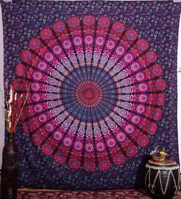 Indian Tapestry Wall Hanging Mandala Large Psychedelic Hippie Bedspread 92X82