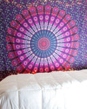 Pink and Purple Hippie Tapestry, Hippy Mandala Bohemian Tapestries, Indian Dorm Decor, Psychedelic Tapestry Wall Hanging Ethnic Decorative