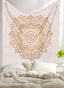 "King Golden Ombre Mandala Wall Hanging 108"" Indian Boho Tapestry Gypsy Throw Art Queen Size Aakriti Gallery"