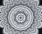 Black and White Queen Mandala Tapestry Indian Wall Hanging Decor Tapestry Throw