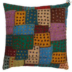 "Patch Multi Cover Cotton Cushion Cover 16"" Sofa Decor Indian Pillow Covers"