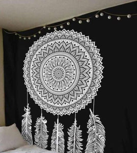 Dream Catcher Black and White Queen Mandala Tapestry Indian Wall Hanging Decor Tapestry Throw