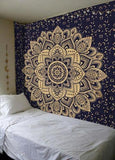 Golden and Blue Ombre Mandala Tapestry Wall Hanging Bedspread Hippie Bohemian Queen Size