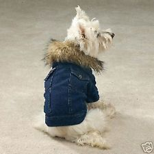 Denim jacket with faux fur collar - Small