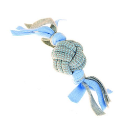 Fleecy Rope Ball Tugger - Blue