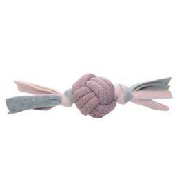 Fleecy Rope Ball Tugger - Pink