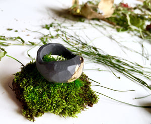 Unisex ring, Urban jewelry, Porcelain ring, Lord of the rings, Black porcelain ring, Big ring
