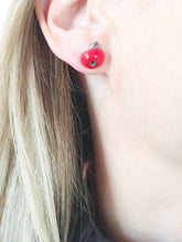 Load image into Gallery viewer, Ceramic mismatched apple earrings