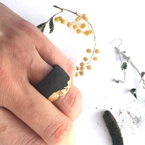 Porcelain ring, Black ring, black porcelain ring, gold plated ring, unisex ring, urban style jewelry