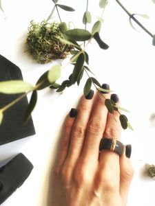 Black porcelain unisex statement ring