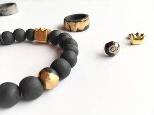 Queen bracelet, golden crown bracelet, ceramic bracelet, black porcelain bracelet, crown bracelet