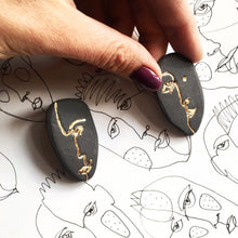 Load image into Gallery viewer, Black porcelain face earrings