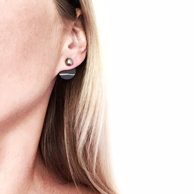 Black porcelain double sided stud earrings