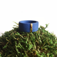 Load image into Gallery viewer, Blue porcelain unisex ring with golden line