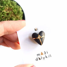 Load image into Gallery viewer, Black porcelain midi HEART pin