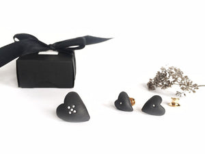 Black porcelain two hearts studs