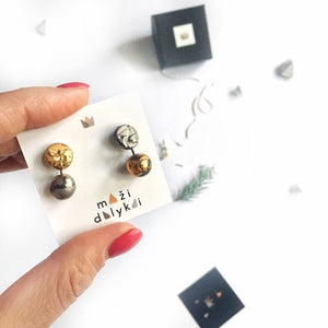 Mismatch, black porcelain minimal style earrings