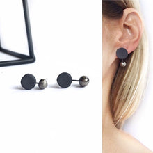 Load image into Gallery viewer, Black porcelain, minimal style earrings