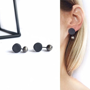 Black porcelain, minimal style earrings