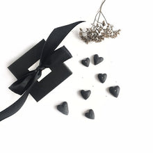 Load image into Gallery viewer, Black porcelain two hearts studs