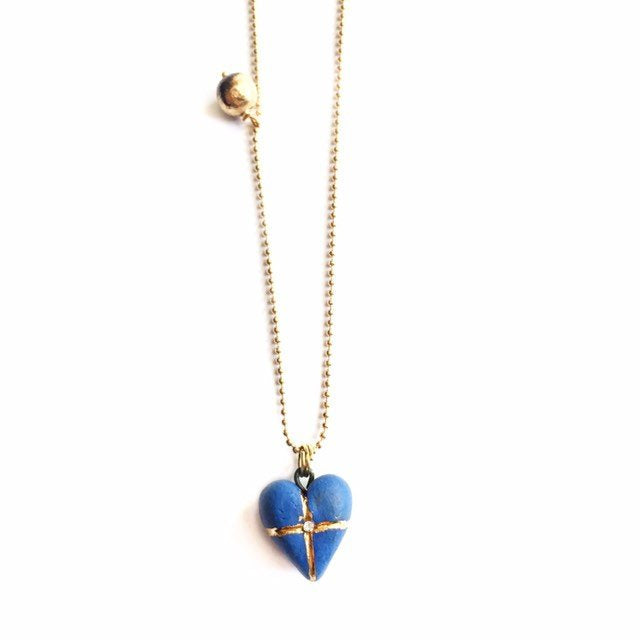 Blue porcelain heart pendant
