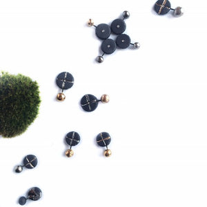 "Black porcelain assymmetric earrings ""Orbit and cross"""