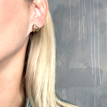 "Load image into Gallery viewer, Black porcelain unisex gold plated earrings ""Pieces of gold"""