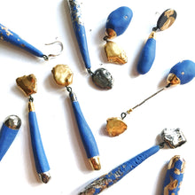 Load image into Gallery viewer, Magic wands blue porcelain earrings