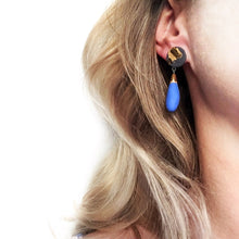 "Load image into Gallery viewer, Blue and black porcelain ""DROPS"" earrings"