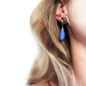 "Blue and black porcelain ""DROPS"" earrings"