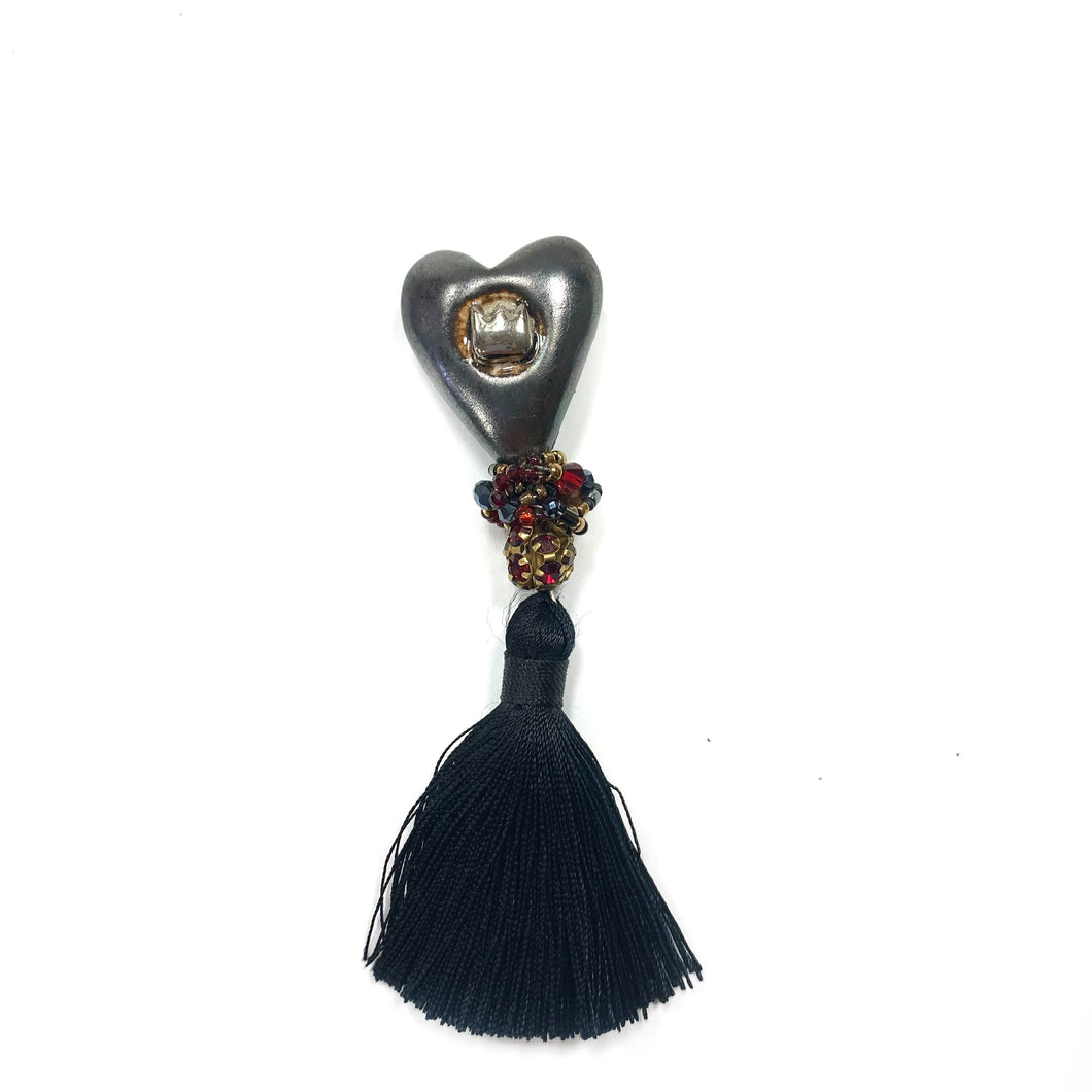 Ceramic HEART brooch with a fringe
