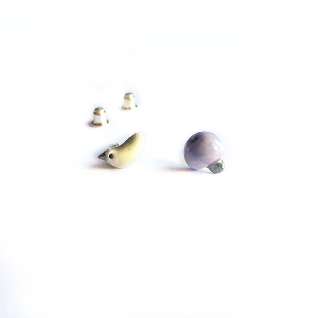 "Mismatched ceramic earrings ""Mint green bird and its levender apple"""