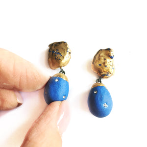 "Blue porcelain symetric ""COCOON"" earrings"