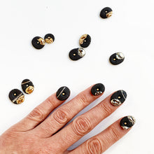 Load image into Gallery viewer, Black porcelain mismatched earrings, gold platinum plated