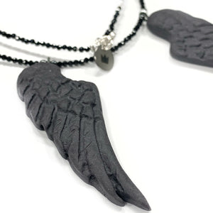Black porcelain necklace CONSTELATION OF BLACK ANGEL