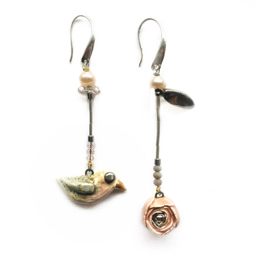 "Ceramic assymmetric earrings ""Bird and a rose with a leaf"""