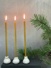 Load image into Gallery viewer, White mate ceramic candle holders SNOW FIG set of three