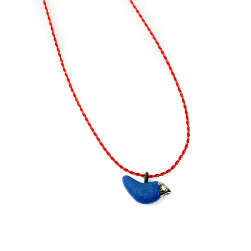 Blue ultramarine porcelain BROTHER BIRD pendant