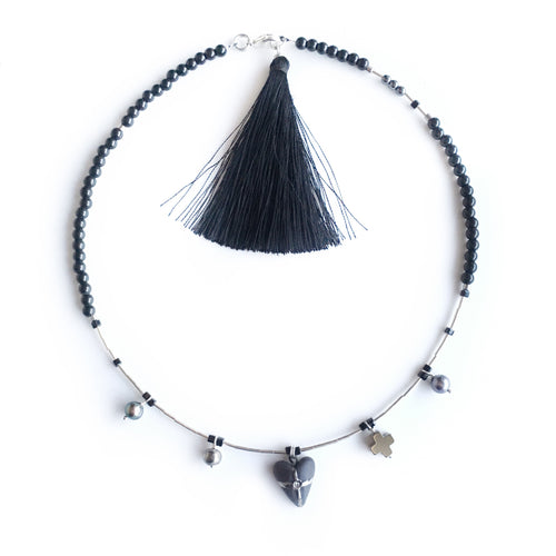 Black heart porcelain necklace