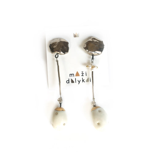 White porcelain earrings COCOONS