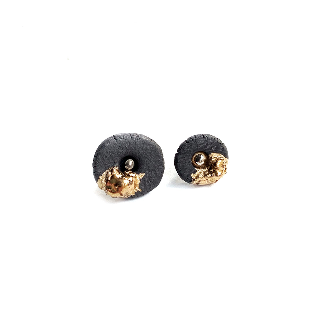 Black porcelain mismatched earrings, gold platinum plated