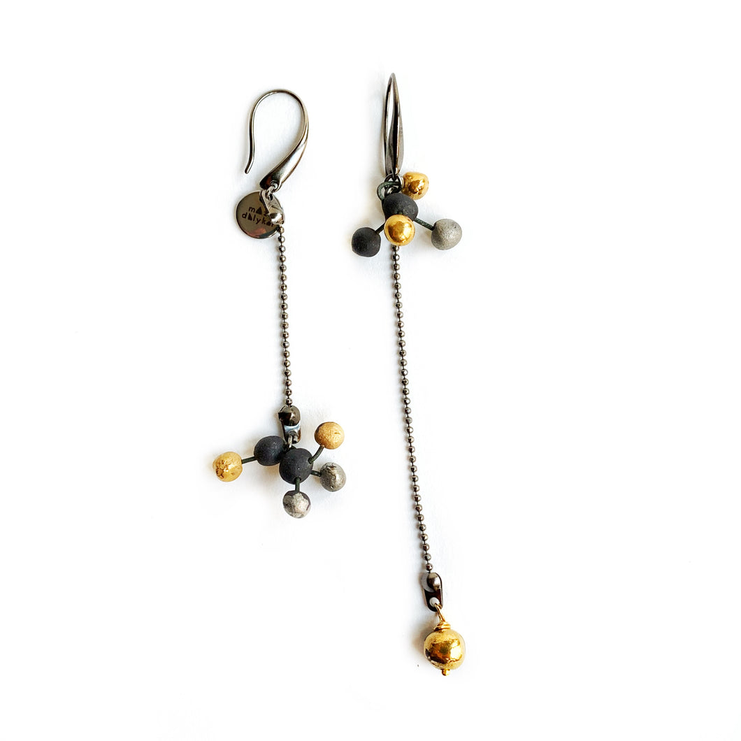 Black porcelain earrings VIRUS-1