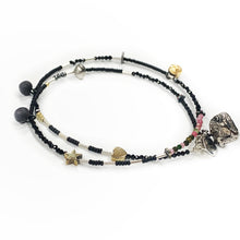 Load image into Gallery viewer, Minimalistic necklace - bracelet with black porcelain pendants